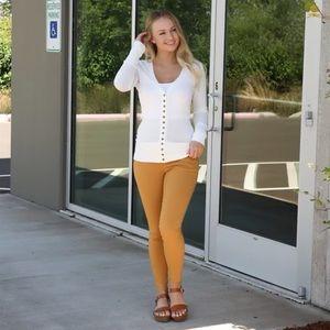 Dark Mustard Flat Front Work Pants Size L